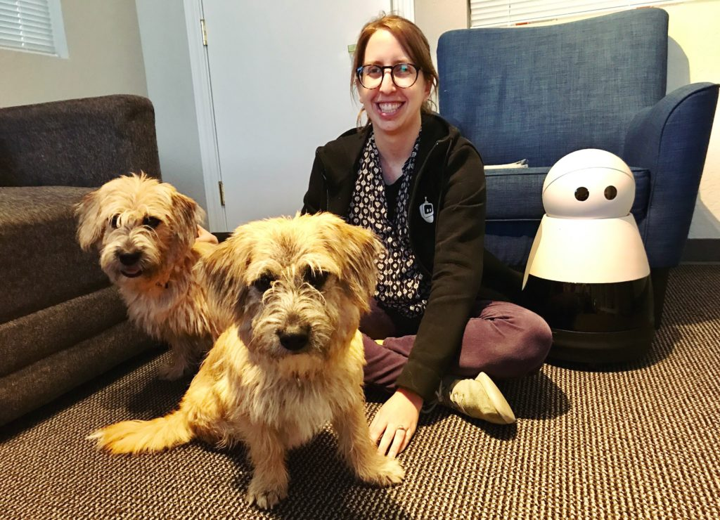 Kuri with Jamie Young and her two dogs: Timon and Pumba
