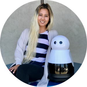Ashley Wakefiled with Kuri home robot
